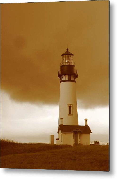 Lighthouse Metal Print featuring the photograph Yaquina Head Lighthouse Sepia by Juli House