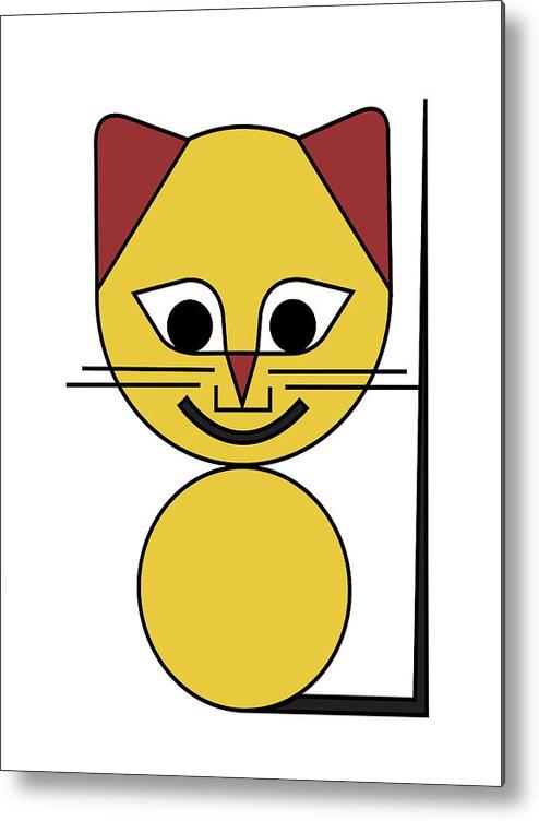 Cat Metal Print featuring the digital art Yellow Cat by Asbjorn Lonvig
