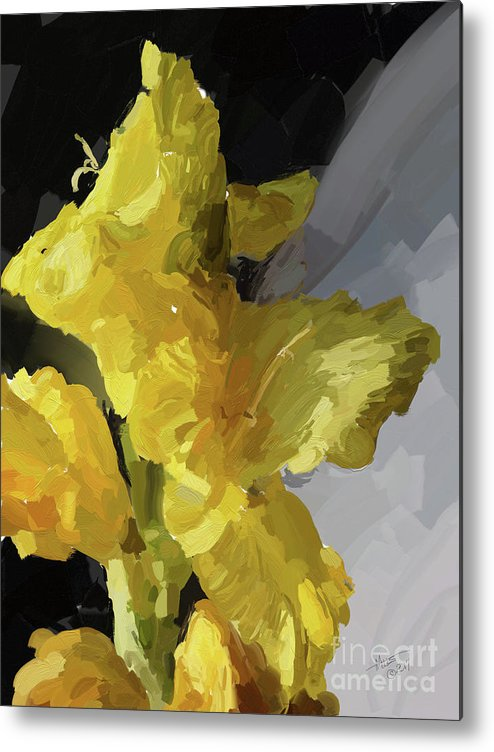 Still Life Metal Print featuring the digital art Yellow Glad 092217 1a by Henry Mills