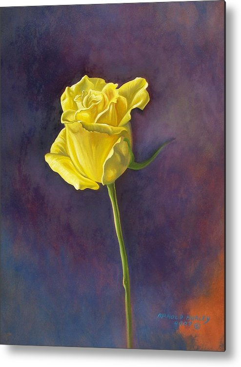 Floral Metal Print featuring the painting Yellow Rose by Arnold Hurley