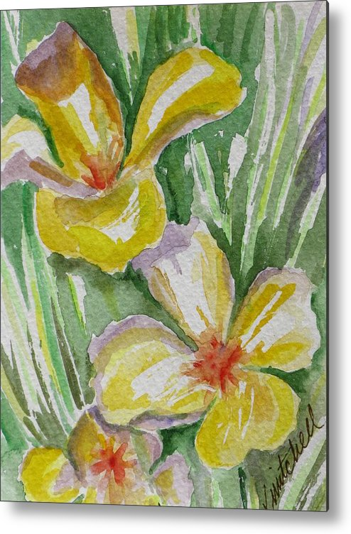 Floral Metal Print featuring the painting Yellow Wild Flowers II by Kathy Mitchell