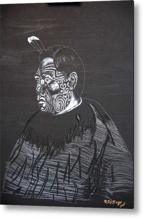 Maori Metal Print featuring the painting Young Tane by Richard Le Page