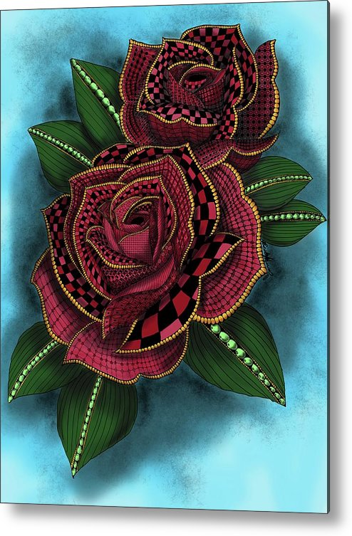 Zentangle Tattoo Rose Colored Metal Print By Becky Herrera