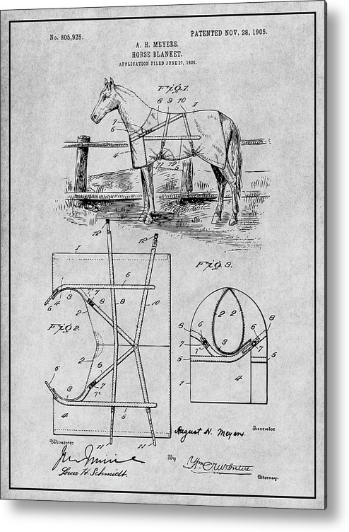 Art & Collectibles Metal Print featuring the drawing 1905 Horse Blanket Patent Print Gray by Greg Edwards