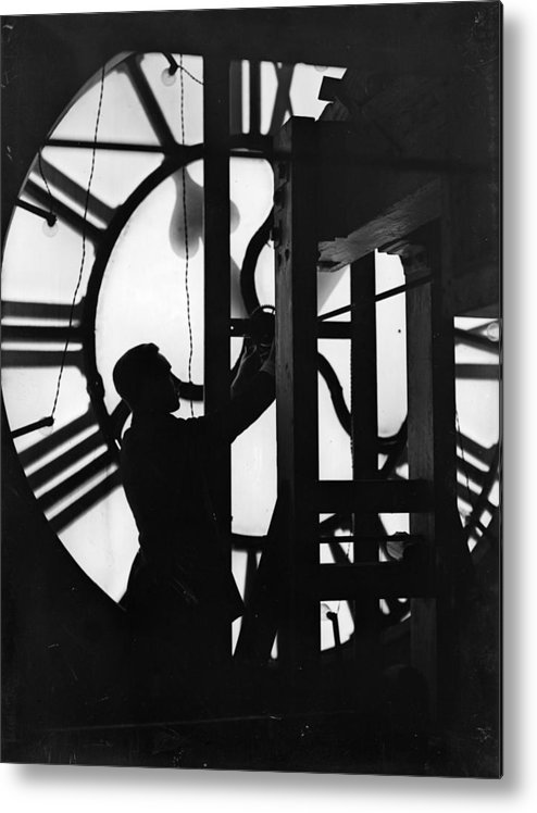 8cbe314da2 People Metal Print featuring the photograph Behind Time by Fox Photos