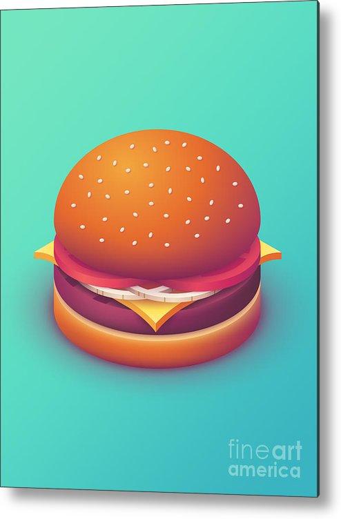Burger Metal Print featuring the digital art Burger Isometric - Plain Mint by Ivan Krpan