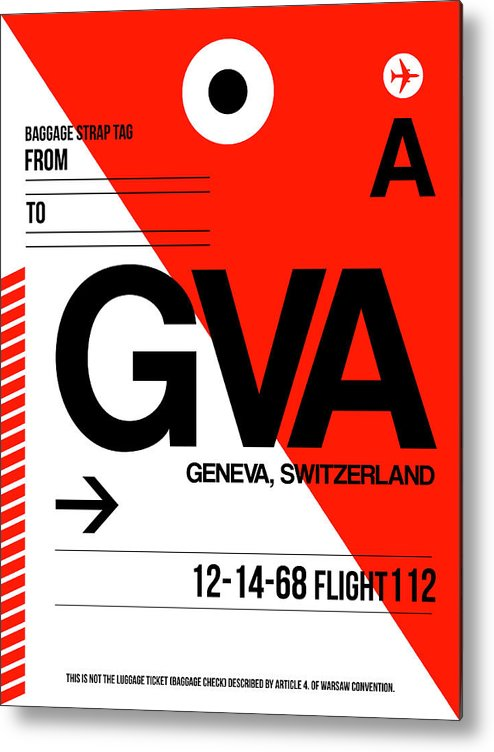 Vacation Metal Print featuring the digital art Gva Geneva Luggage Tag I by Naxart Studio