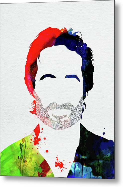 Californication Metal Print featuring the mixed media Hank Moody Watercolor by Naxart Studio