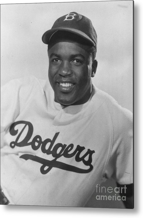 People Metal Print featuring the photograph Jackie Robinson Happy Portrait 1949 by Transcendental Graphics