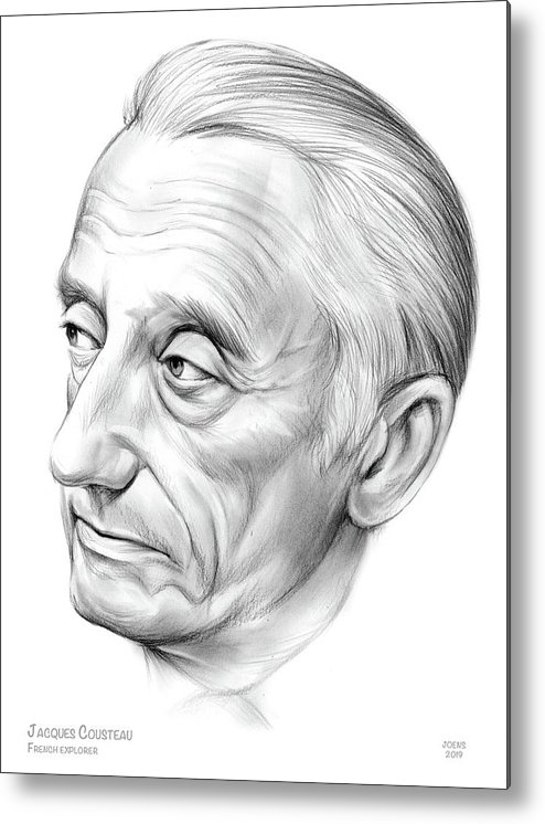 Jacques Cousteau Metal Print featuring the drawing Jacques-yves Cousteau by Greg Joens