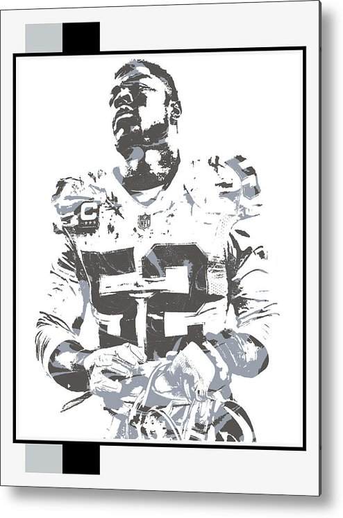 Khalil Mack Metal Print featuring the mixed media Khalil Mack Oakland Raiders Pixel Art 35 by Joe Hamilton