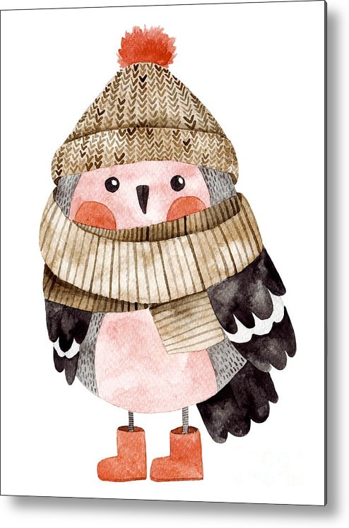 Illustrations Metal Print featuring the digital art Little Cute Bullfinch With Winter Hat by Maria Sem