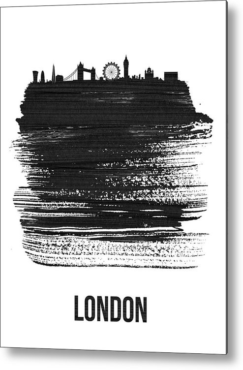 London Metal Print featuring the mixed media London Skyline Brush Stroke Black by Naxart Studio