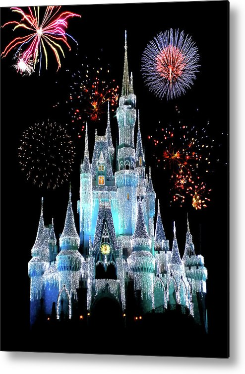 Castle Metal Print featuring the photograph Magic Kingdom Castle In Frosty Light Blue With Fireworks 06 by Thomas Woolworth