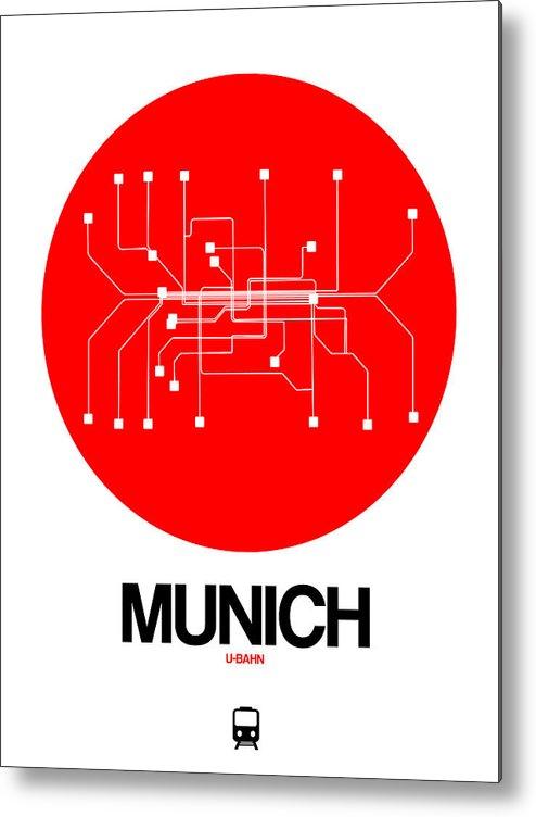 Vacation Metal Print featuring the digital art Munich Red Subway Map by Naxart Studio