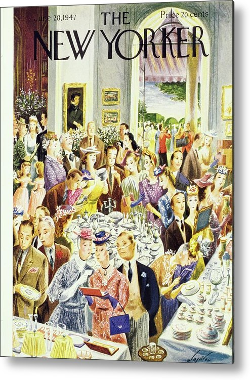 Illustration Metal Print featuring the painting New Yorker June 28th 1947 by Constantin Alajalov