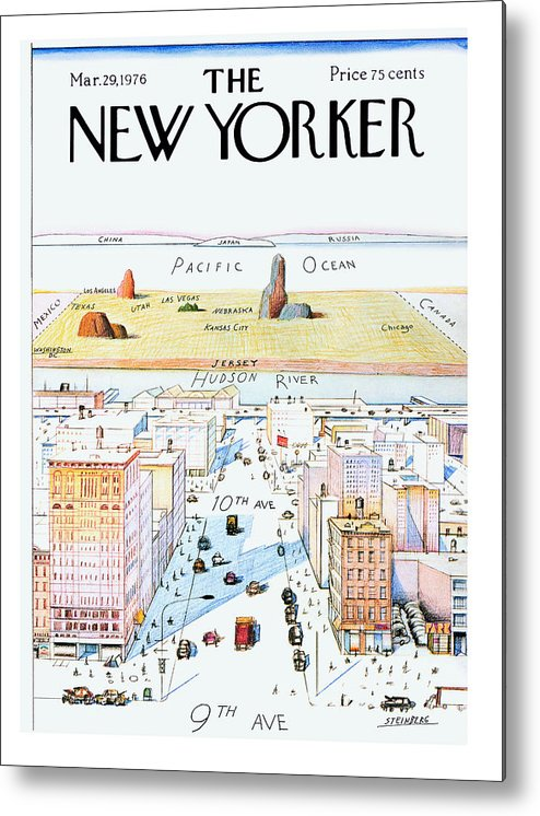 #condenastnewyorkercover Metal Print featuring the painting New Yorker March 29, 1976 by Saul Steinberg