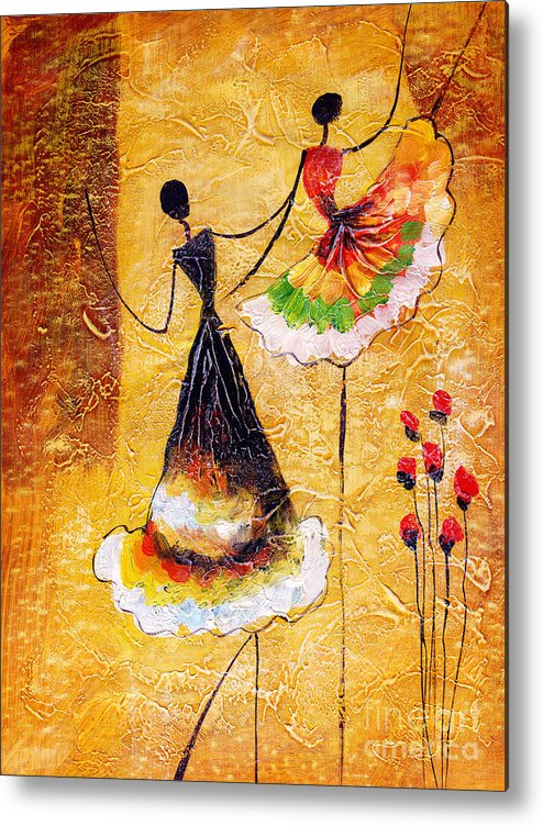 Small Metal Print featuring the digital art Oil Painting - Spanish Dance by Cyc