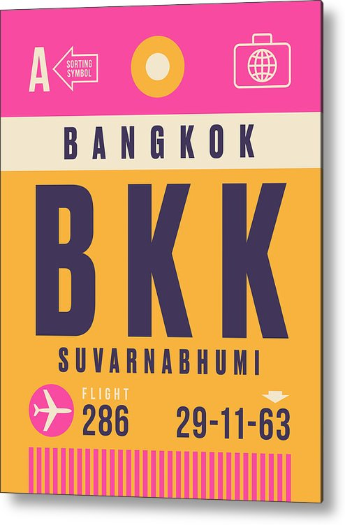 Airline Metal Print featuring the digital art Retro Airline Luggage Tag - Bkk Bangkok Thailand by Organic Synthesis