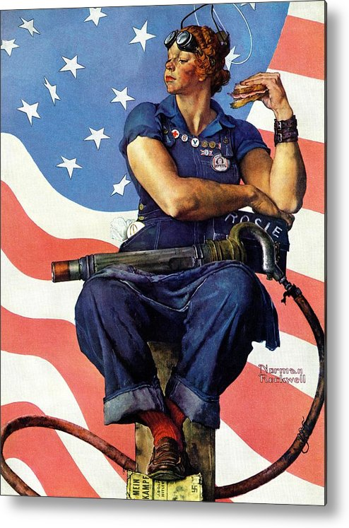 Factories Metal Print featuring the drawing Rosie The Riveter by Norman Rockwell