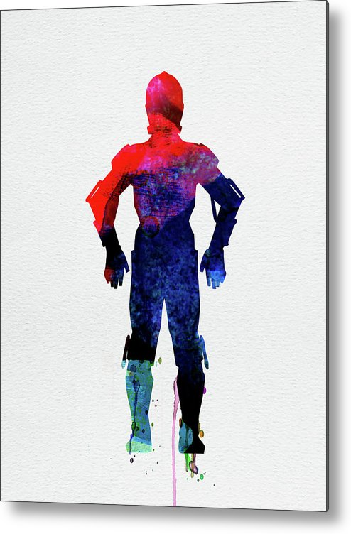 C-3po Metal Print featuring the mixed media Star Warrior C-3po Watercolor by Naxart Studio