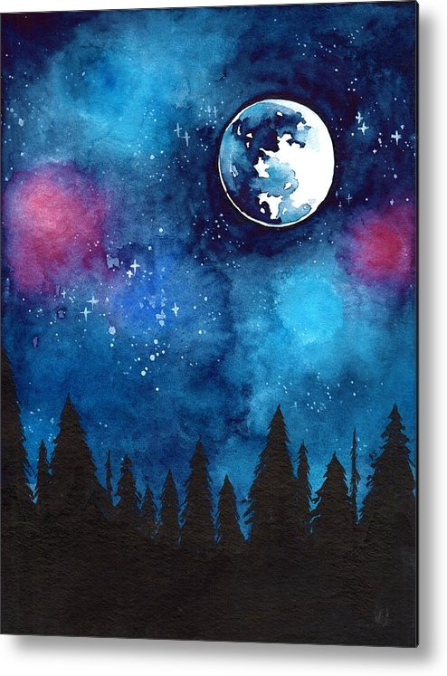 Moon Metal Print featuring the painting The Moon by ArtMarketJapan