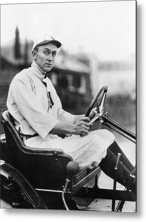 American League Baseball Metal Print featuring the photograph Ty Cobb Driving Car In Uniform by Authenticated News