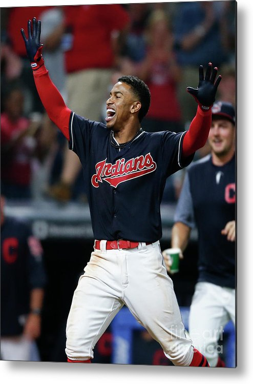Three Quarter Length Metal Print featuring the photograph Francisco Lindor by Ron Schwane