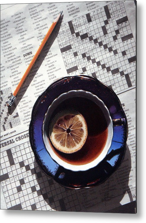 Still Life Metal Print featuring the painting Crossword by Dianna Ponting