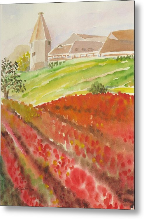 Landscape Metal Print featuring the painting French Fields by Kathy Mitchell