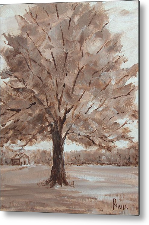 Tree Metal Print featuring the painting There's A Tree by Pete Maier