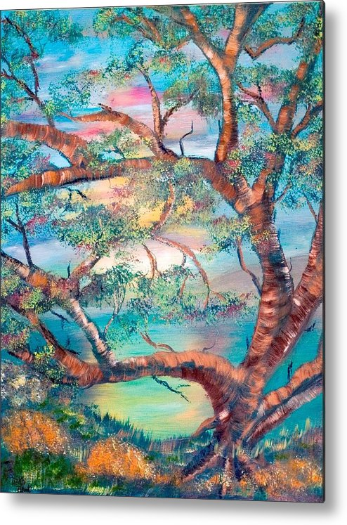Original Metal Print featuring the painting Misty Oak by Mikki Alhart
