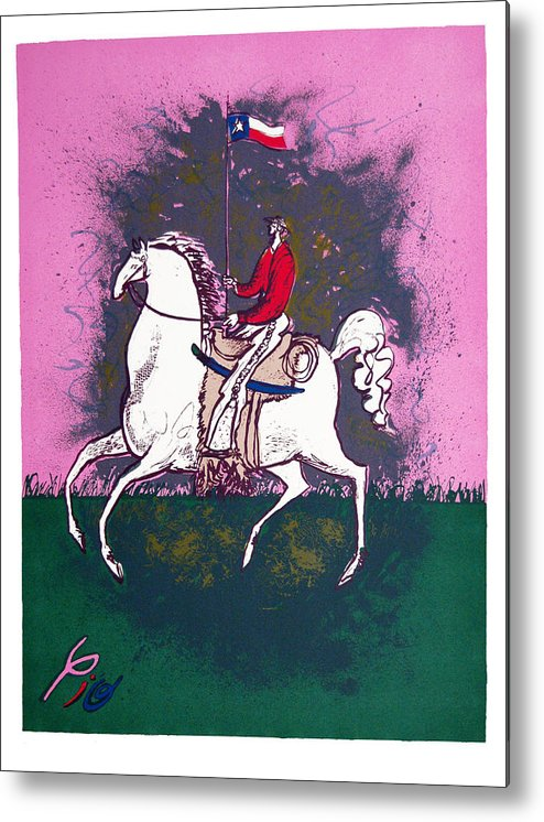 Pio Pulido Metal Print featuring the print The Texan by Pio Pulido