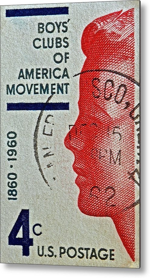1960 Metal Print featuring the photograph 1960 Boys' Clubs Of America Movement Stamp by Bill Owen