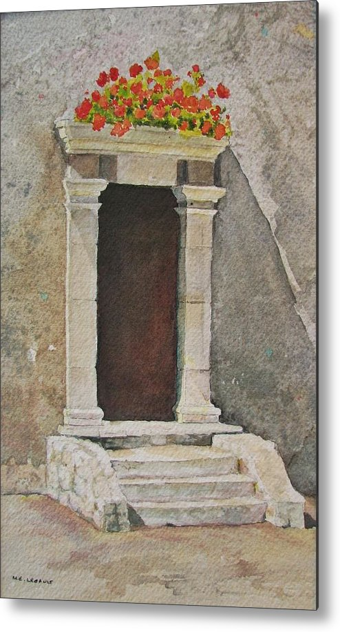 Antique Doorway Metal Print featuring the painting Ancient Doorway by Mary Ellen Mueller Legault