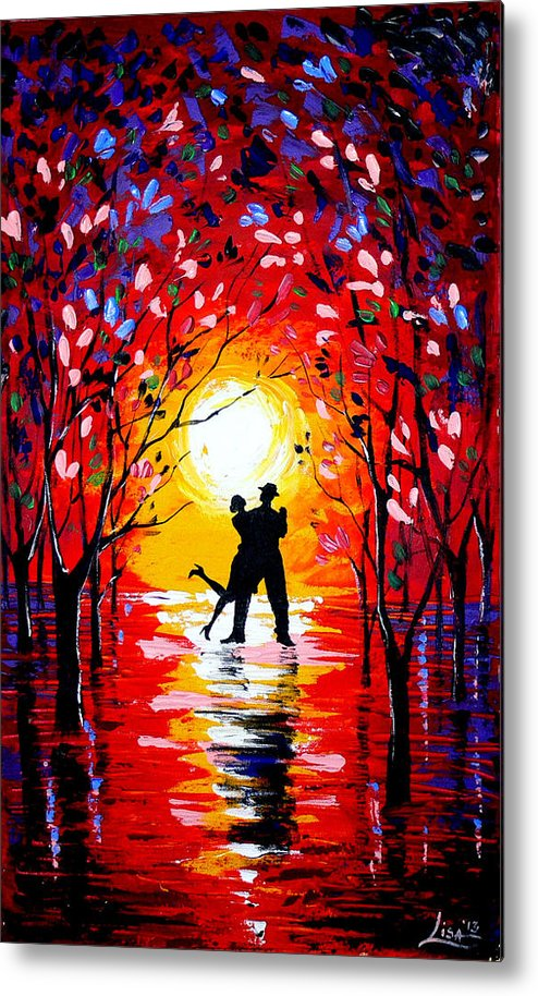 Landscape Metal Print featuring the painting Dancing Sunset Original Painting by Svilen And Lisa