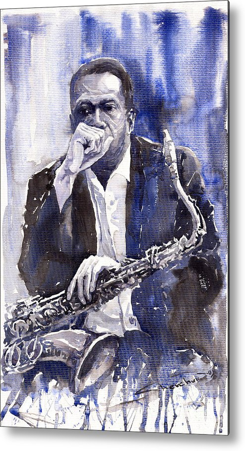 Jazz Metal Print featuring the painting Jazz Saxophonist John Coltrane Blue by Yuriy Shevchuk