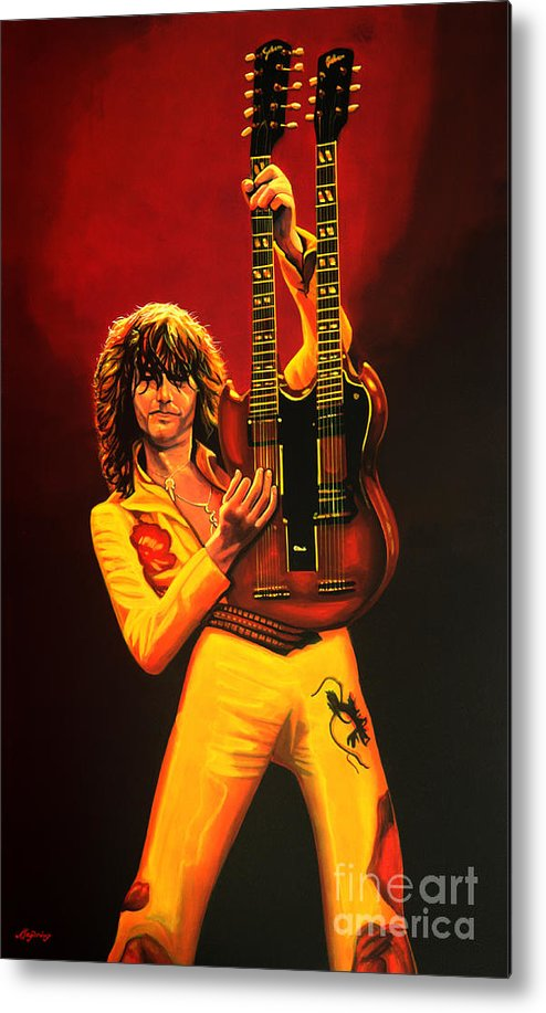Jimmy Page Metal Print featuring the painting Jimmy Page Painting by Paul Meijering