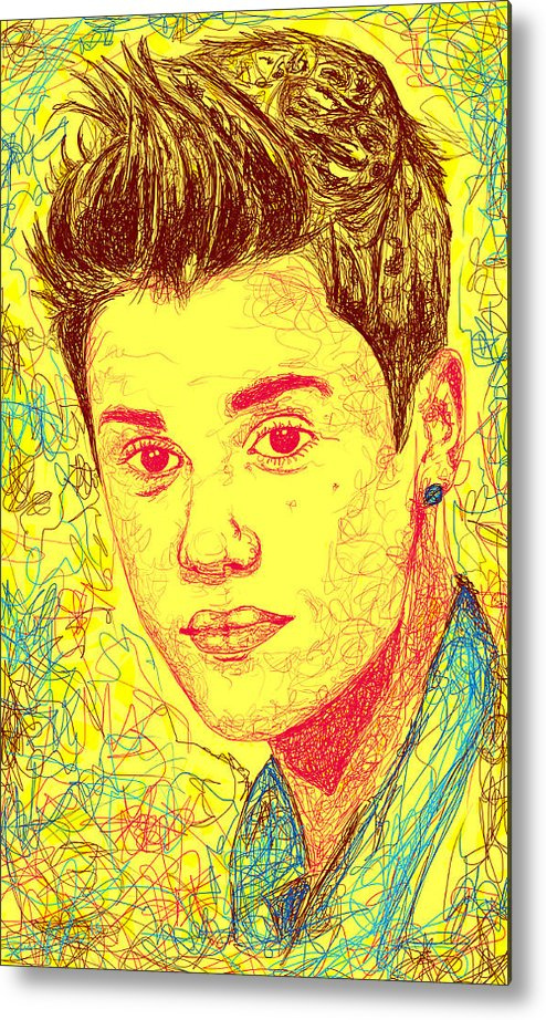 Justin Bieber Metal Print featuring the drawing Justin Bieber In Line by Kenal Louis