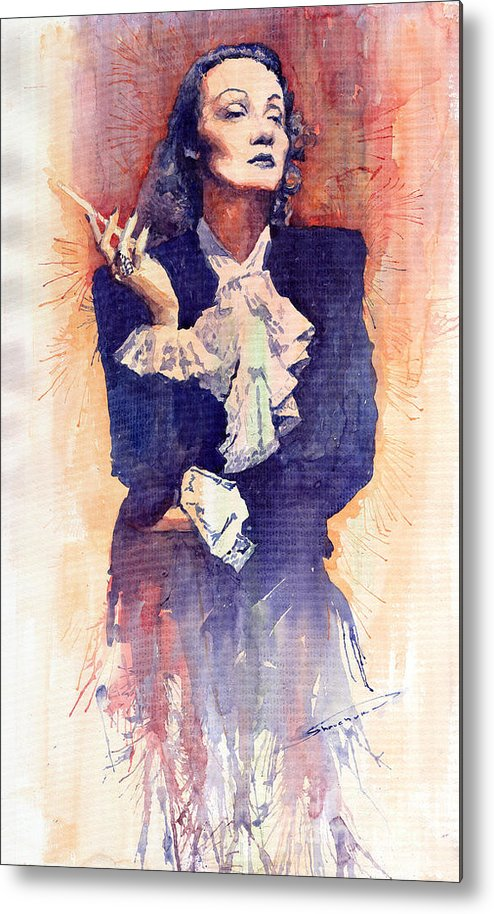 Watercolour Metal Print featuring the painting Marlen Dietrich by Yuriy Shevchuk