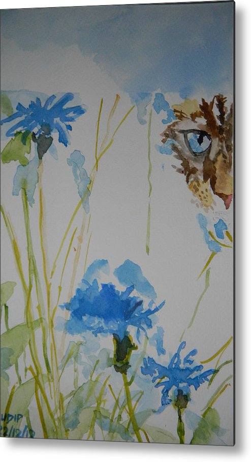 Flowers Metal Print featuring the painting Spot The Cat by Sudip Mitra
