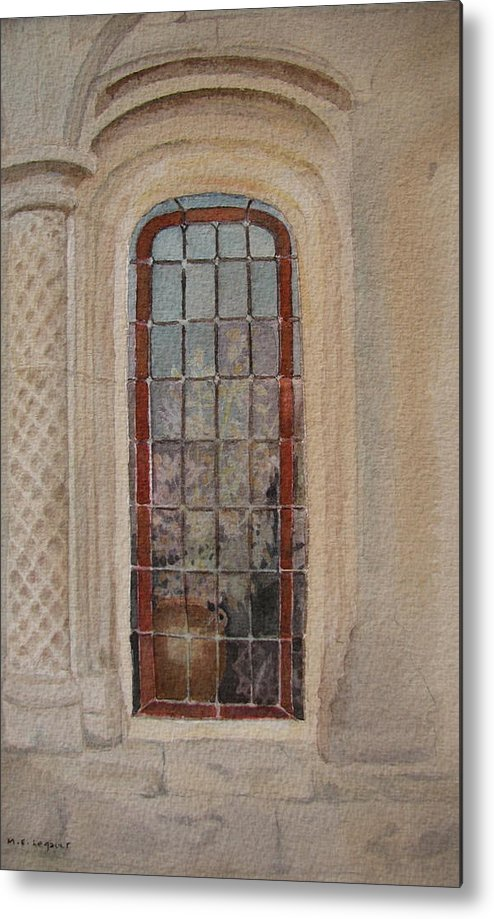 Window Metal Print featuring the painting What Is Behind The Window Pane by Mary Ellen Mueller Legault