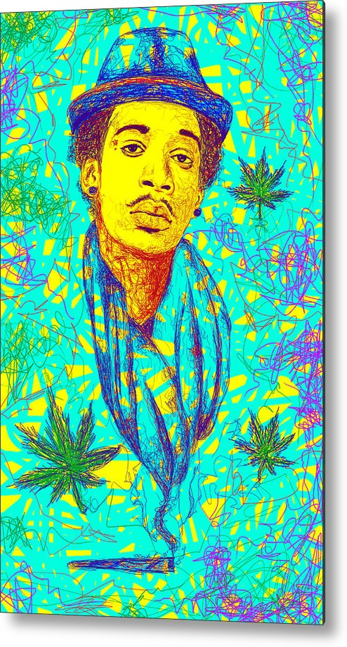 Wiz Khalifa Drawing Metal Print featuring the drawing Wiz Khalifa Drawing In Line by Kenal Louis