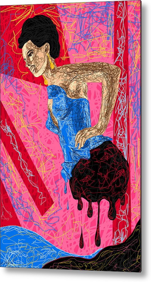 Fashion Abstraction De Angela Balderston Metal Print featuring the drawing Fashion Abstraction De Angela Balderston by Kenal Louis
