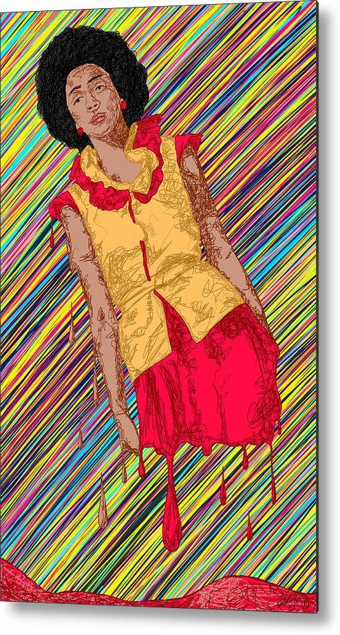 Fashion Abstraction De Fella Metal Print featuring the painting Fashion Abstraction De Fella by Kenal Louis