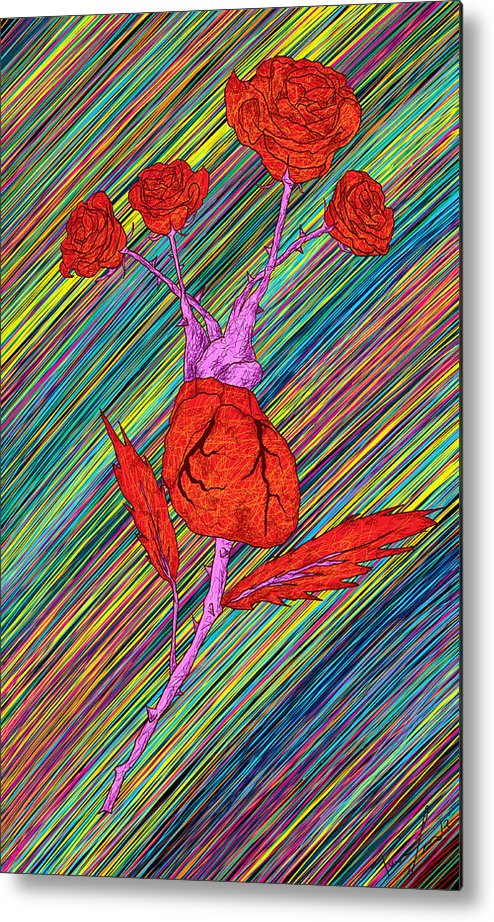 Heart Made Of Roses Metal Print featuring the painting Heart Made Of Roses by Kenal Louis