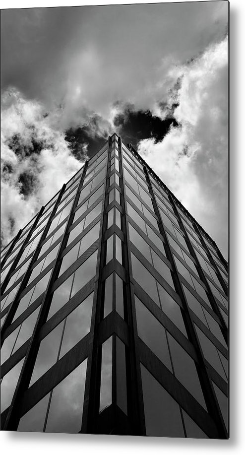 Clouds Metal Print featuring the photograph Clouds And Office Building Midtown by Robert Ullmann
