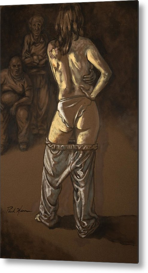 Nude Metal Print featuring the painting Angelique With Men by Paul Herman