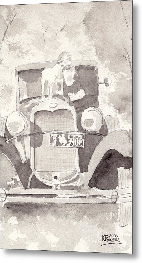 Car Metal Print featuring the painting Boy And His Dog On An Old Car by Ken Powers