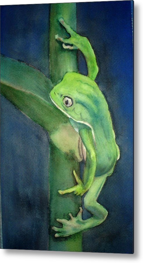 Frog Metal Print featuring the painting Brilliant Green Poison Dart Frog by Kerra Lindsey